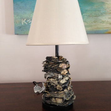 Modern Rustic Oyster Shell Table Lamp