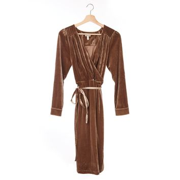 Velvet Long Sleeve Wrap Dress