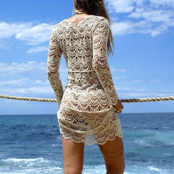 Crochet Sexy Beach Cover up  Swimwear Dress