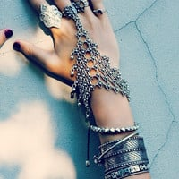 Bohemian Silver Floral Design Boho Bracelet Statement Tribal Chic Turkish Gypsy Jewelry for Women (Color: Silver) = 1928749316