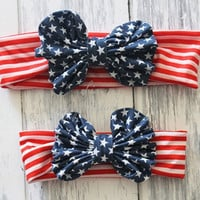 Mommy and Me 4th of July Big Bow Headband Set