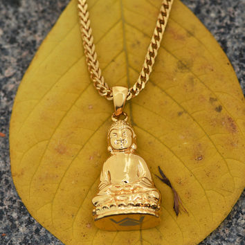 Buddha Pendant Franco Necklace 18K Gold Finish