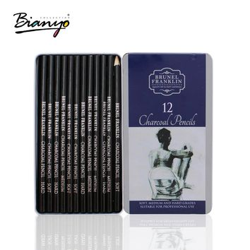 Bianyo 12 Pieces/Box Artist Charcoal Sketching Pencil Wooden Non-toxic Pencil for Art Drawing Painting Supplies
