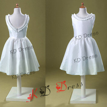 On Sale!!! Vintage Inspired Ivory Taffeta Flower Girl Dress Junior Bridesmaid Dress Baby Girl Toddler Dress With Decorative Buttons(Z1039)