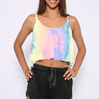 Tie Me Up Crop - Pastel Tie-dye Rainbow Print Crop Top