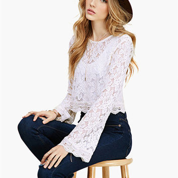 White Bell Sleeve Floral Lace Cropped Top