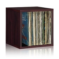 Way Basics Stackable Vinyl Record Storage and Record Album Storage Cube, Espresso - Fits 65 to 70 records