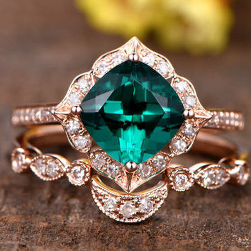 1.3ct cushion cut Treated Emerald engagement ring set,14k rose gold diamond wedding band,2pcs bridal ring set,Reco diamond matching band