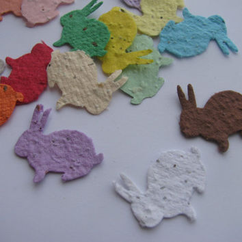 100 Plantable confetti Bunny Rabbits- choose from 16 colors- Wildflower blend