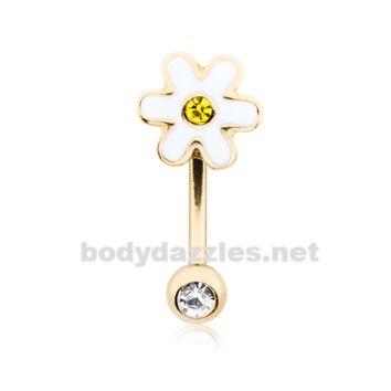 Adorable Daisy Curved Barbell Eyebrow Ring Rook Daith Ring 16ga Body Jewelry