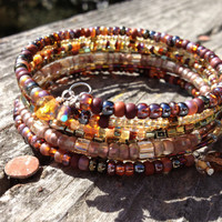 Layered Beaded Wrap Memory Wire Bangle Bracelet - The Chocolate Browns