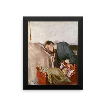 Mother's Day Art Print Reproduction Framed Poster by Christian Krohg, Vintage Art Print Framed Poster, Mother and Baby Art Print