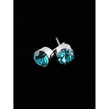 Light Blue Diamond Silver Stud Earrings