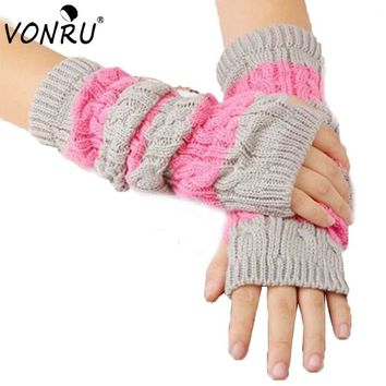Fashion Women Winter Gloves Long Crochet Knit Hand Arm Stretchy Fingerless Black Gloves Fitness Mitten Female Gloves 1ST6045