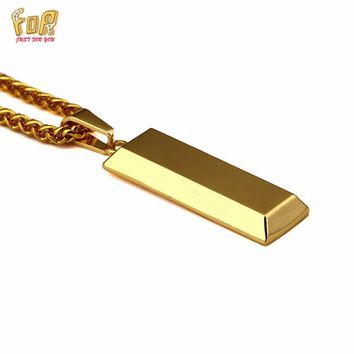 JFY NECKLACE BRAND 18K Gold Cube Bar SUPREME Necklace&Pendant Hip Hop Jewelry Dance Ch