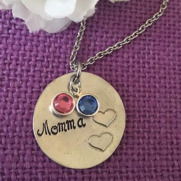 Mom Necklace - Mother's Day gift - Birthstone Momma Necklace - My Blessings - grandma gift - Gift for mom - Mom