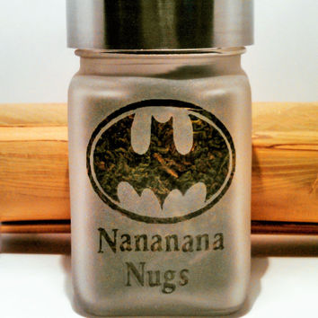 Batman Inspired Batman Logo Etched Glass Stash Jar or Edibles Canister - Free UPGRADE to Priority Shipping within the US