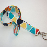 Lanyard ID Badge Holder - Hexagons Turquoise yellow blue - Lobster clasp and key ring