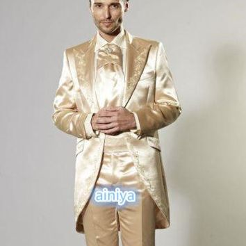 2018 Satin Gold Men's Wedding Suits Embroidery Groom Tuxedos Formal Prom Best Men suit Tailcoats jacket pant 2 piece plus size