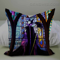 Maleficent Stained Glass Case, Pillow Cover, Custom Pillow Case