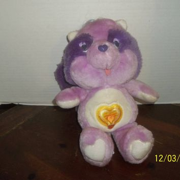 "vintage 1984 kenner american greetings carebear cousin purple raccoon plush 12"" tall"