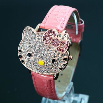 Hot Sales Cute Leather Hello Kitty Watch Children Girls Women Crystal Dress Quartz Wristwatch Relojes Mujer 048-27