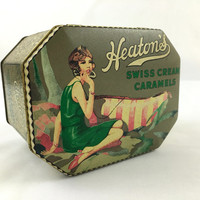 Vintage Art Deco Gold & Green Tin Box Heaton's Swiss Caramels Tin Designed by Daher Collectible Hinged Storage Tin Lady in Green Dress