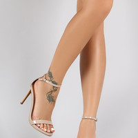 Anne Michelle Shiny Ankle Strap Open Toe Stiletto Heel