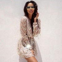 ONETOW Fringed white sequined long-sleeved dress package hip