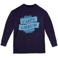 Carpe Librum Seize the Book Banner Navy Youth Long Sleeve T-Shirt