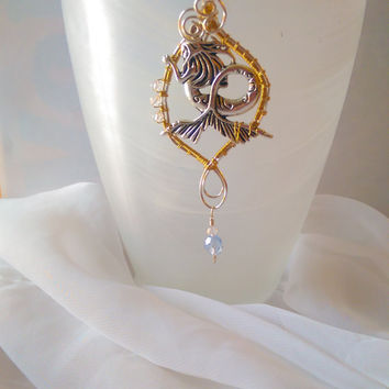 Mermaid Pendant, Mermaid Necklace, Wire Mermaid, Ocean Jewelry, Wire wrapped pendant, Gift for her