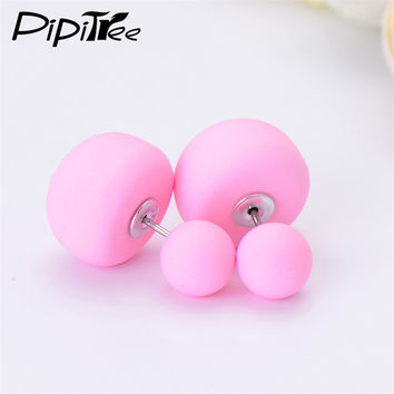 2 Pair/Lot,2016 New Big Mushroom Double Side Stud Earrings For Women Girls Matte Frosted Simulated Pearl Earrings Pusety Jewelry