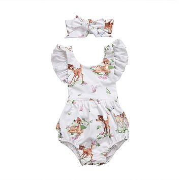 Baby Clothing Newborn Toddler Infant Baby Girls Ruffles  Deer Romper Back Cross Jumpsuit Clothes Sunsuit Outfits