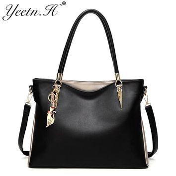 Yeetn.H Women Tassel Casual Tote Elegant Ladies Handbag Pu Leather Shoulder Bag Large Capacity Hand Bag Commuter Bag Female