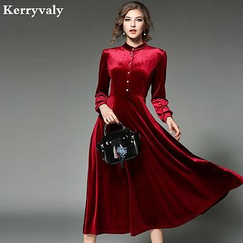 New Women Black Velvet Dress Winter Dresses Women Vestido Longo Long Sleeved Maxi Long Party Dresses Robe Longue Femme 2470