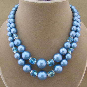 Blue Beaded Double Strand Vintage Necklace with Crystals