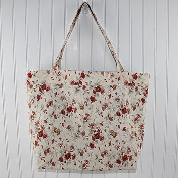 Vintage Floral Print Large Tote Bag, Farmers Market Bag, Reusable Grocery Bag, MK114