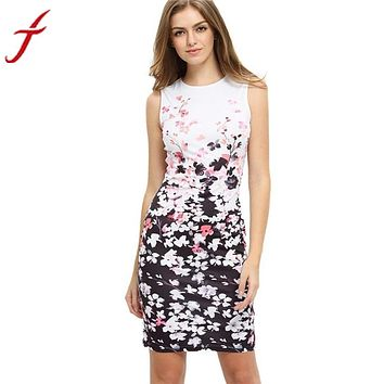 Work Office Ladies Women's Casual Dresses Elegant Floral print Pattern Sleeveless Round Neck Mini Dress