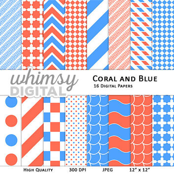 Coral and Blue Digital Paper with Stripes, Waves, Chevron, Polka Dots, Scallops, Checkers, and Arrows in shades of Coral, Blue, and White