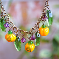 Thanksgiving Pumpkin necklace Fall necklace Lampwork Autumn necklace bead jewelry Halloween jewelry Harvest Jewelry Vegetable Women gift