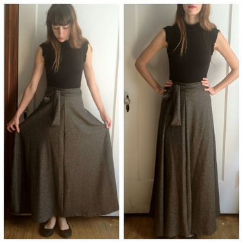 High Waist 4 Gore Maxi Skirt in Wool