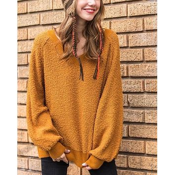 Fuzzy V-Neck Bubble Sleeve Sweater - Mustard