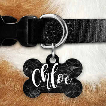 Black Marble Pet ID Tag, Lost Dog Tag, Pet Name Tag, Custom Pet Tag, Dog Tag Collar, Circle Bone Personalized Double Sided Stone Look