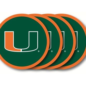 Duck House Miami Hurricanes Coaster Set  4 Pack