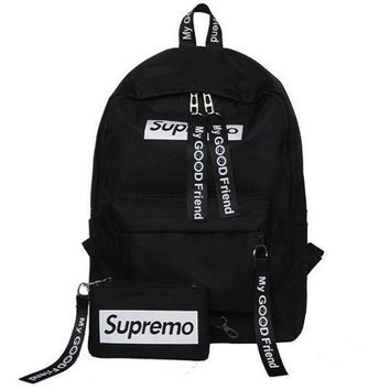 CREYUP0 Supreme Canvas Casual Sport School Shoulder Bag Satchel Laptop Bookbag Backpack Clutch Bag Wristlet Purse Two-Piece-1