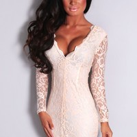 Norah Nude Lace Long Sleeved Dress | Pink Boutique