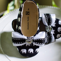 Toddler Shoes, Black and White Elephant Parade Flats for Toddlers
