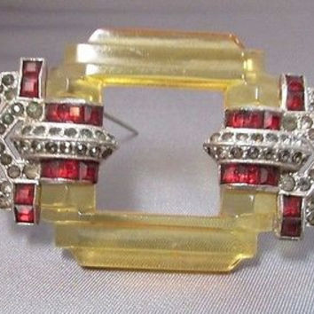 Art Deco Rhinestone Carved Bakelite Brooch Pin RARE 1930's
