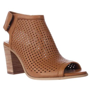 STEVEN by Steve Madden Suzy Perforated Open Toe Heel Ankle Booties, Tan, 10 US