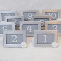 Table Number Frames Metal Silver Wedding Easel Back Set of 10 Photo Frames with White and Pearl Flower